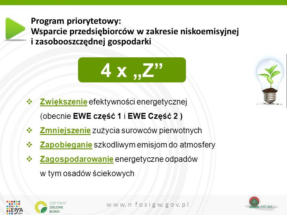 w w w. n f o s i g w. g o v. p l  Zwiększenie efektywności energetycznej (obecnie EWE część 1 i EWE Część 2 )  Zmniejszenie zużycia surowców pierwot