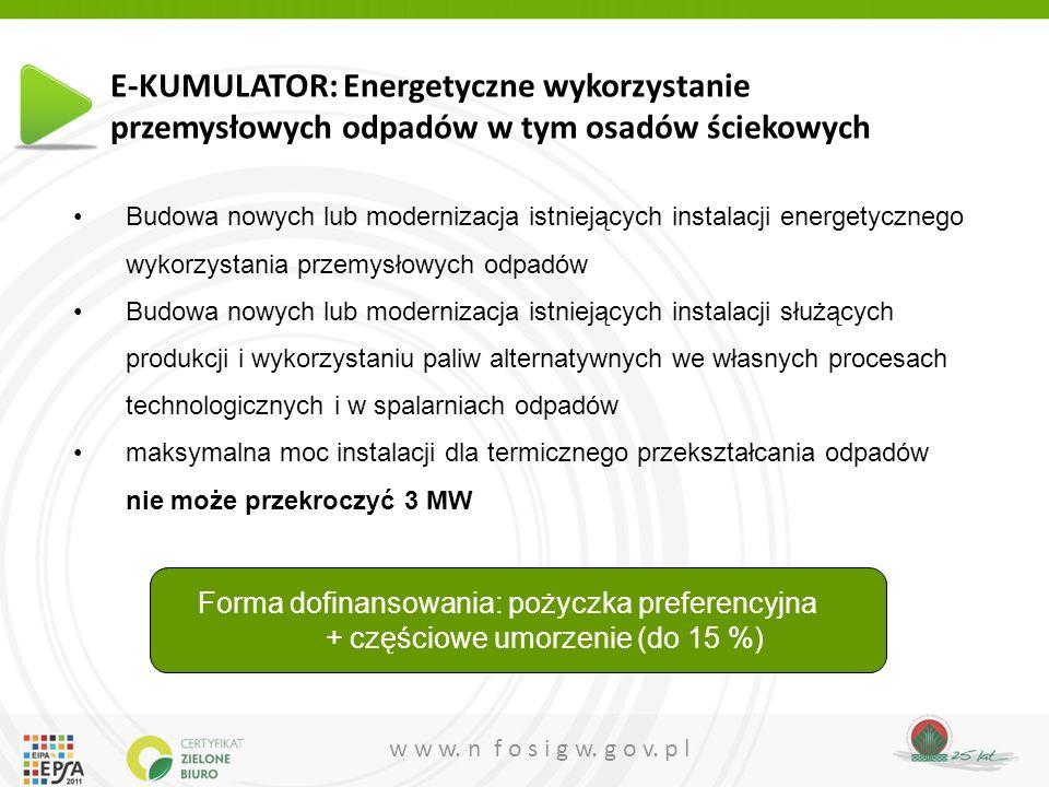 w w w. n f o s i g w. g o v. p l Budowa nowych lub modernizacja istniejących instalacji energetycznego wykorzystania przemysłowych odpadów Budowa nowy