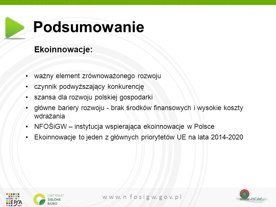 w w w. n f o s i g w. g o v. p l Ekoinnowacje: ważny element zrównoważonego rozwoju czynnik podwyższający konkurencję szansa dla rozwoju polskiej gosp