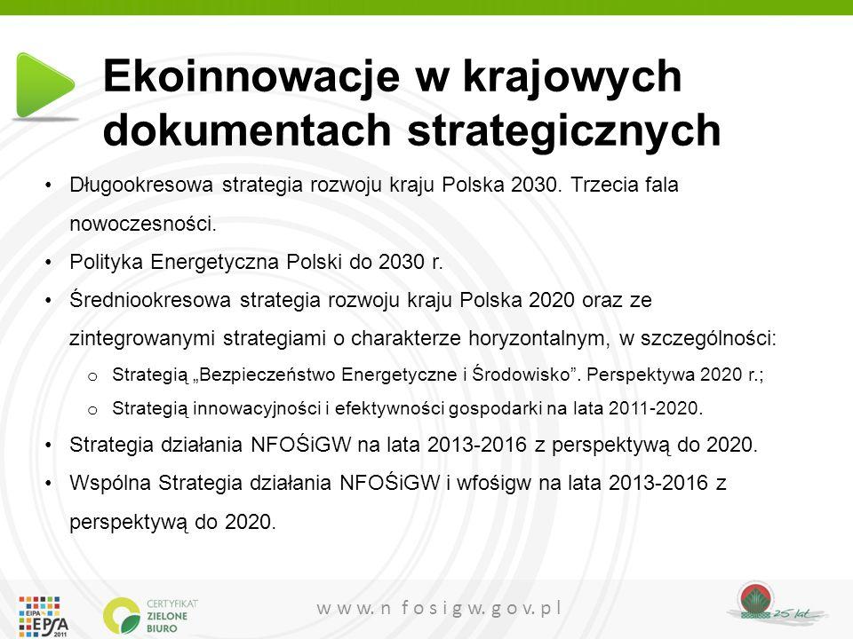 w w w. n f o s i g w. g o v. p l Ekoinnowacje w krajowych dokumentach strategicznych Długookresowa strategia rozwoju kraju Polska 2030. Trzecia fala n