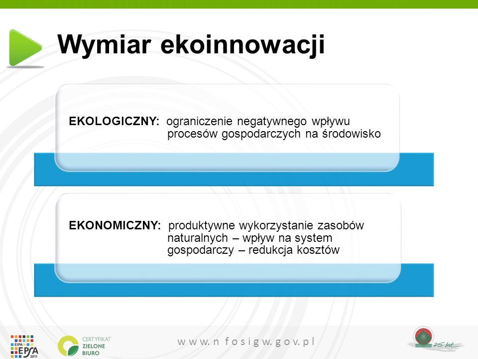 w w w. n f o s i g w. g o v. p l Wymiar ekoinnowacji EKOLOGICZNY: ograniczenie negatywnego wpływu procesów gospodarczych na środowisko EKONOMICZNY: pr