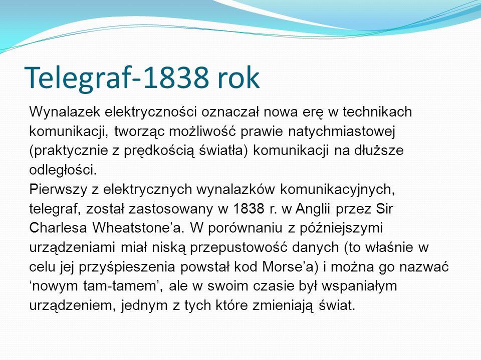 Telegraf-1838 rok Wynalazek elektryczności oznaczał nowa erę w technikach komunikacji, tworząc możliwość prawie natychmiastowej (praktycznie z prędkością światła) komunikacji na dłuższe odległości.