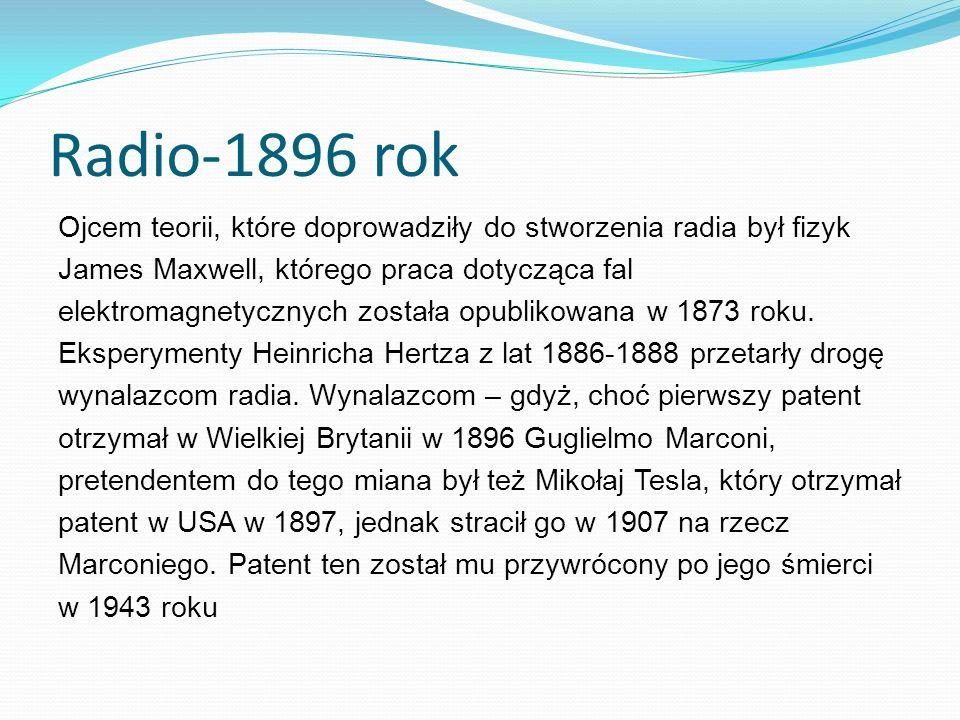 Radio-1896 rok Ojcem teorii, które doprowadziły do stworzenia radia był fizyk James Maxwell, którego praca dotycząca fal elektromagnetycznych została opublikowana w 1873 roku.