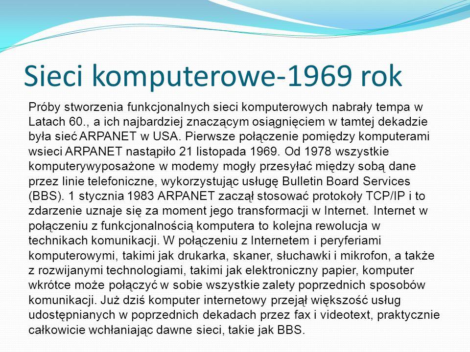 Sieci komputerowe-1969 rok Próby stworzenia funkcjonalnych sieci komputerowych nabrały tempa w Latach 60., a ich najbardziej znaczącym osiągnięciem w tamtej dekadzie była sieć ARPANET w USA.
