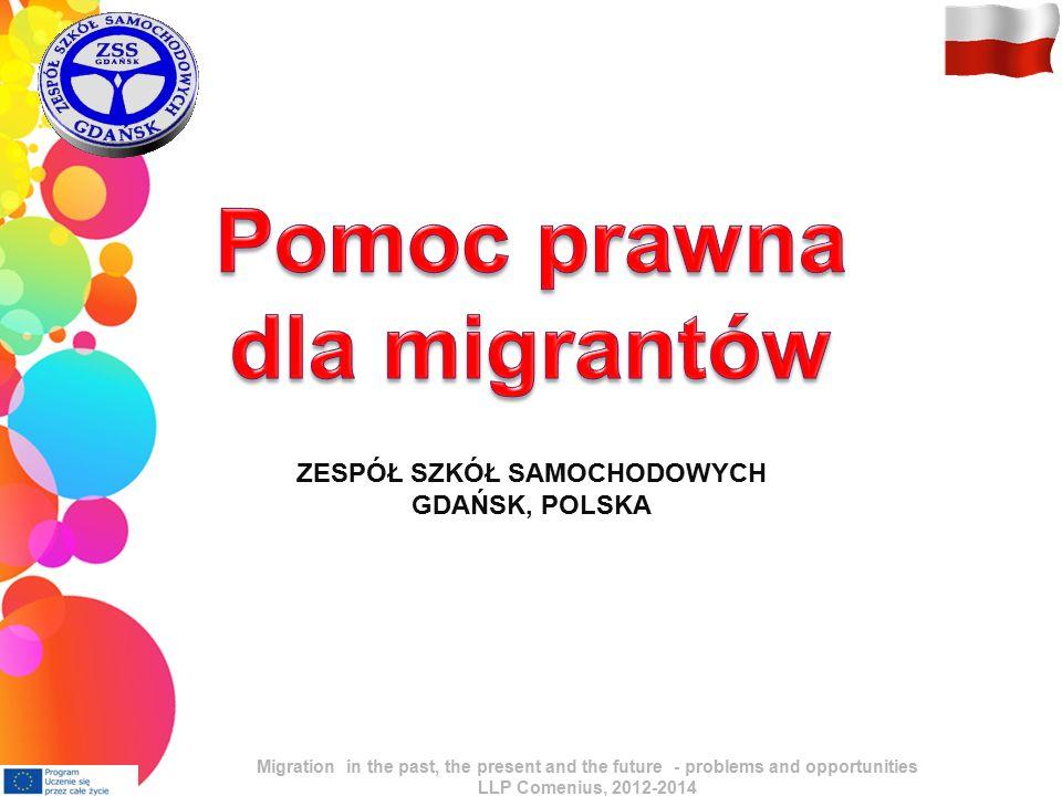 Polityka migracyjna Asymetria w prowadzeniu polityk migracyjnych Silne narodowe polityki migracyjne w krajach przyjmujących (selekcja dopływu) Brak polityki migracyjnej w krajach wysyłających Pierwsze kroki polityki europejskiej – Zielona Księga UE (Green Paper; raport zbierającym informacje na określony temat) w sprawach migracji Międzynarodowe wysiłki w kontroli ruchów migracyjnych - ONZ Migration in the past, the present and the future - problems and opportunities LLP Comenius, 2012-2014