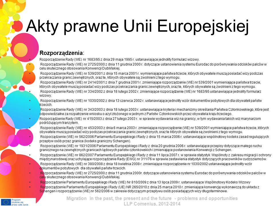 Akty prawne Unii Europejskiej Rozporządzenia: Rozporządzenie Rady (WE) nr 1683/95 z dnia 29 maja 1995 r.
