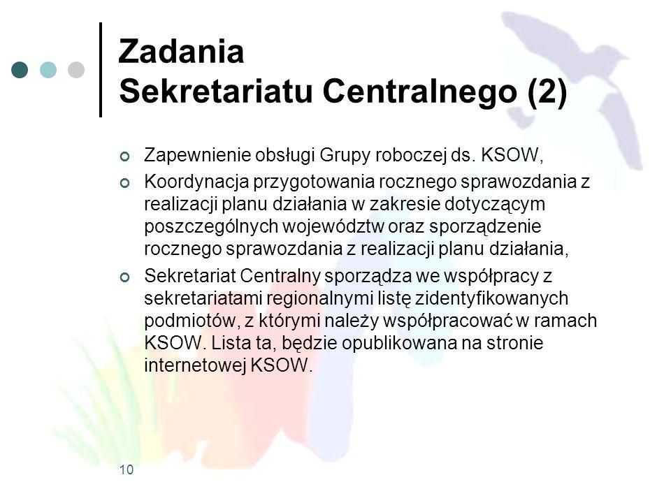 Zadania Sekretariatu Centralnego (2) Zapewnienie obsługi Grupy roboczej ds. KSOW, Koordynacja przygotowania rocznego sprawozdania z realizacji planu d