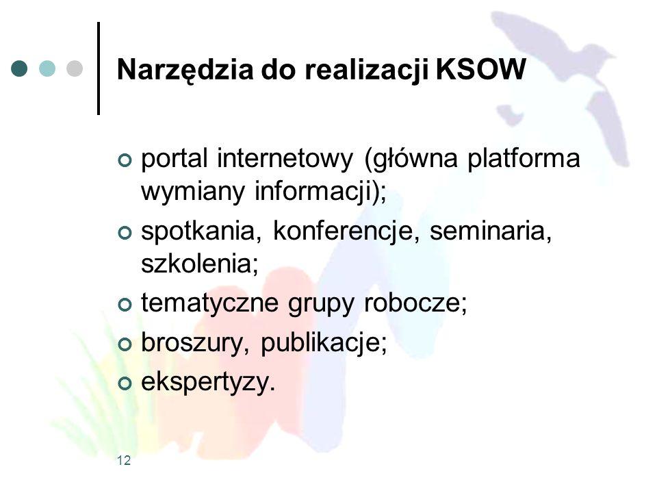 12 Narzędzia do realizacji KSOW portal internetowy (główna platforma wymiany informacji); spotkania, konferencje, seminaria, szkolenia; tematyczne gru