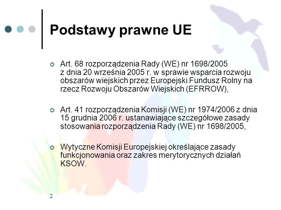 2 Podstawy prawne UE Art. 68 rozporządzenia Rady (WE) nr 1698/2005 z dnia 20 września 2005 r. w sprawie wsparcia rozwoju obszarów wiejskich przez Euro