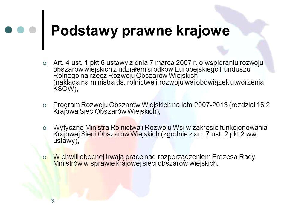 4 Cel KSOW wg PROW 2007-2013 Wsparcie wdrażania i oceny polityki w zakresie rozwoju obszarów wiejskich oraz identyfikacja, analiza, rozpowszechnianie oraz wymiana informacji i wiedzy w tym zakresie wśród wszystkich zainteresowanych partnerów na poziomie lokalnym, regionalnym, krajowym oraz wspólnotowym.