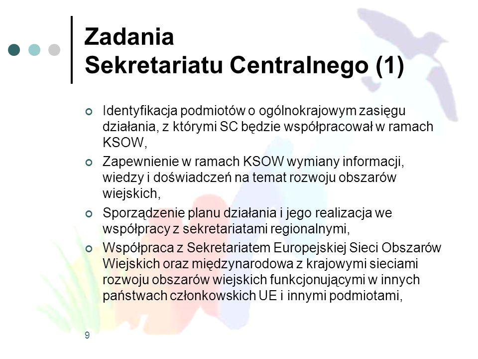 9 Zadania Sekretariatu Centralnego (1) Identyfikacja podmiotów o ogólnokrajowym zasięgu działania, z którymi SC będzie współpracował w ramach KSOW, Za