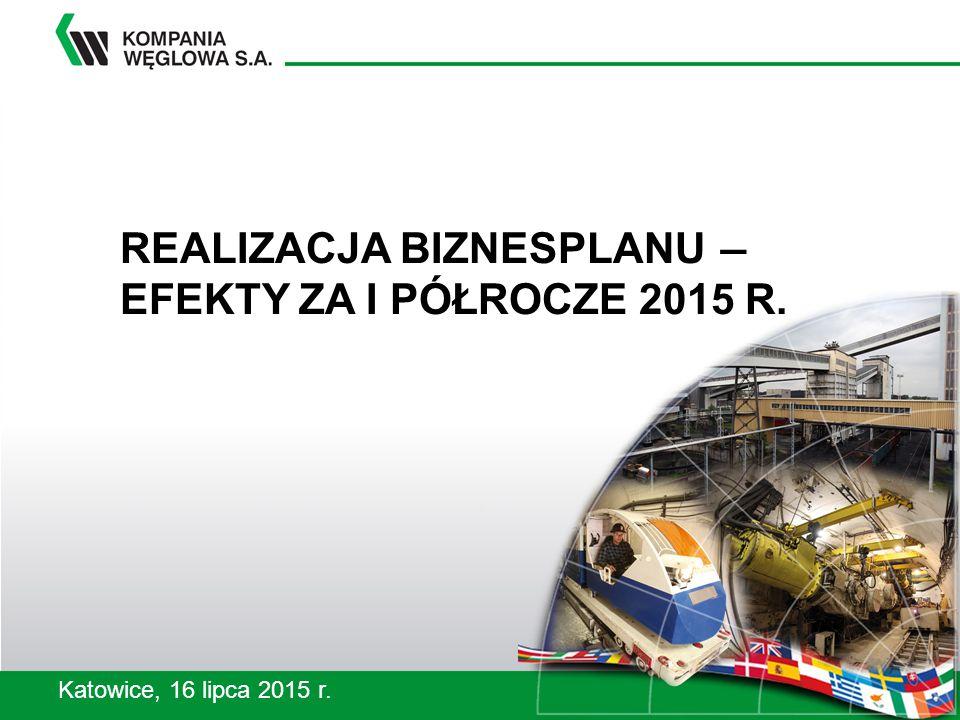 REALIZACJA BIZNESPLANU ― EFEKTY ZA I PÓŁROCZE 2015 R. Katowice, 16 lipca 2015 r.