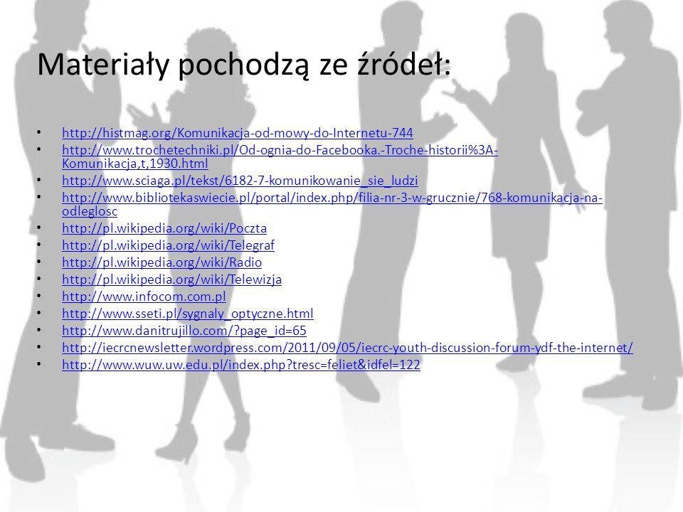 Materiały pochodzą ze źródeł: http://histmag.org/Komunikacja-od-mowy-do-Internetu-744 http://www.trochetechniki.pl/Od-ognia-do-Facebooka.-Troche-histo