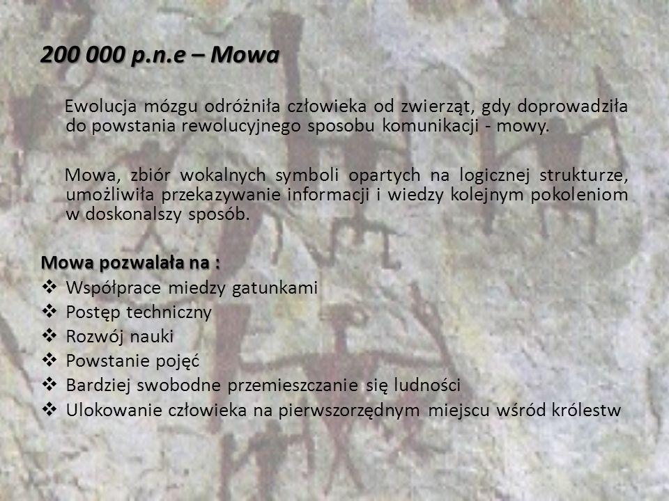 200 000 p.n.e – Mowa Ewolucja mózgu odróżniła człowieka od zwierząt, gdy doprowadziła do powstania rewolucyjnego sposobu komunikacji - mowy. Mowa, zbi