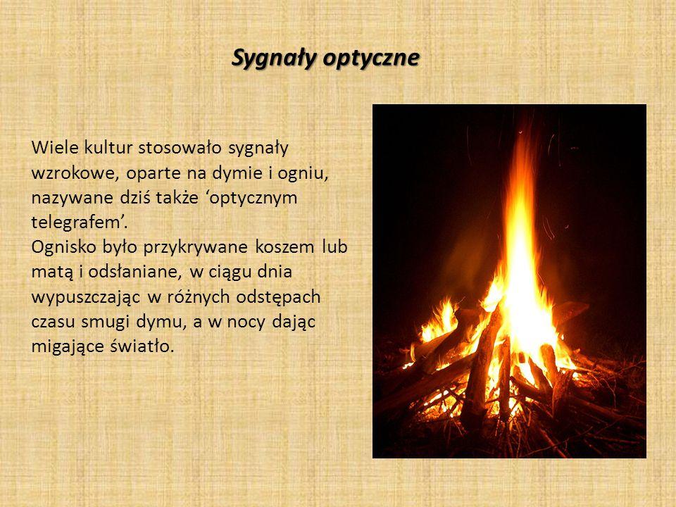 Sygnały optyczne Wiele kultur stosowało sygnały wzrokowe, oparte na dymie i ogniu, nazywane dziś także 'optycznym telegrafem'. Ognisko było przykrywan
