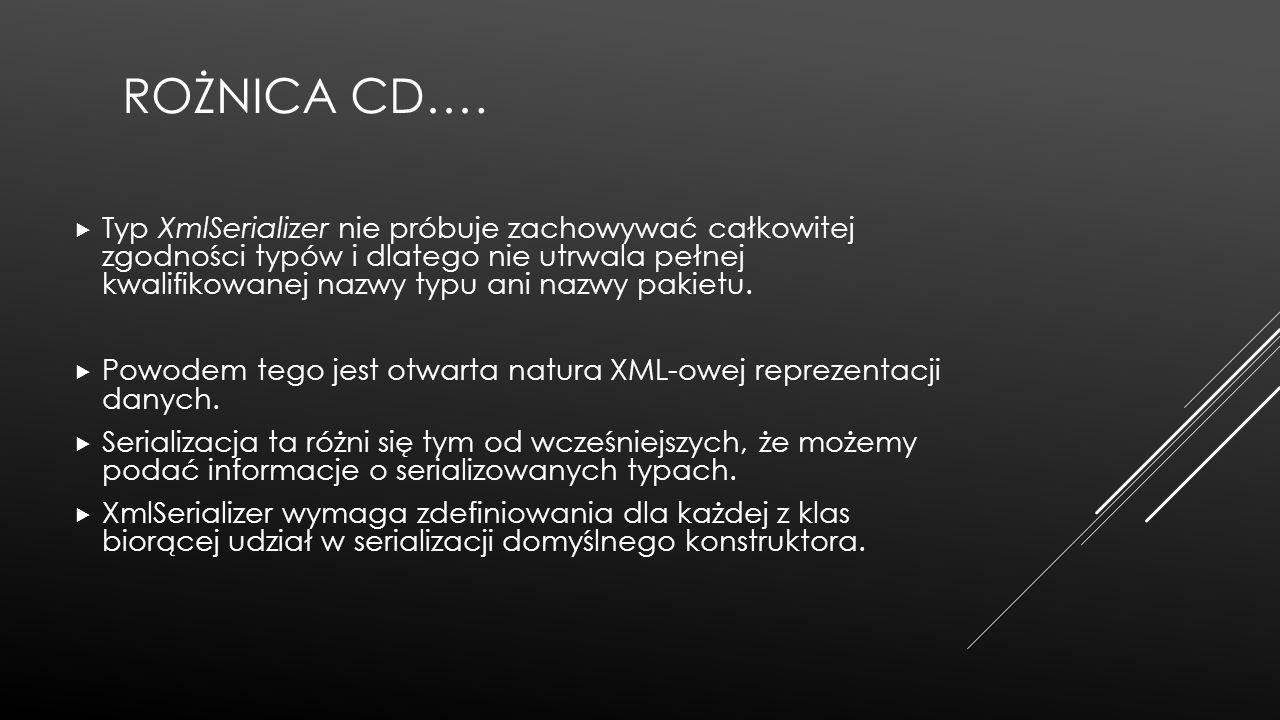 ROŻNICA CD….  Typ XmlSerializer nie próbuje zachowywać całkowitej zgodności typów i dlatego nie utrwala pełnej kwalifikowanej nazwy typu ani nazwy pa