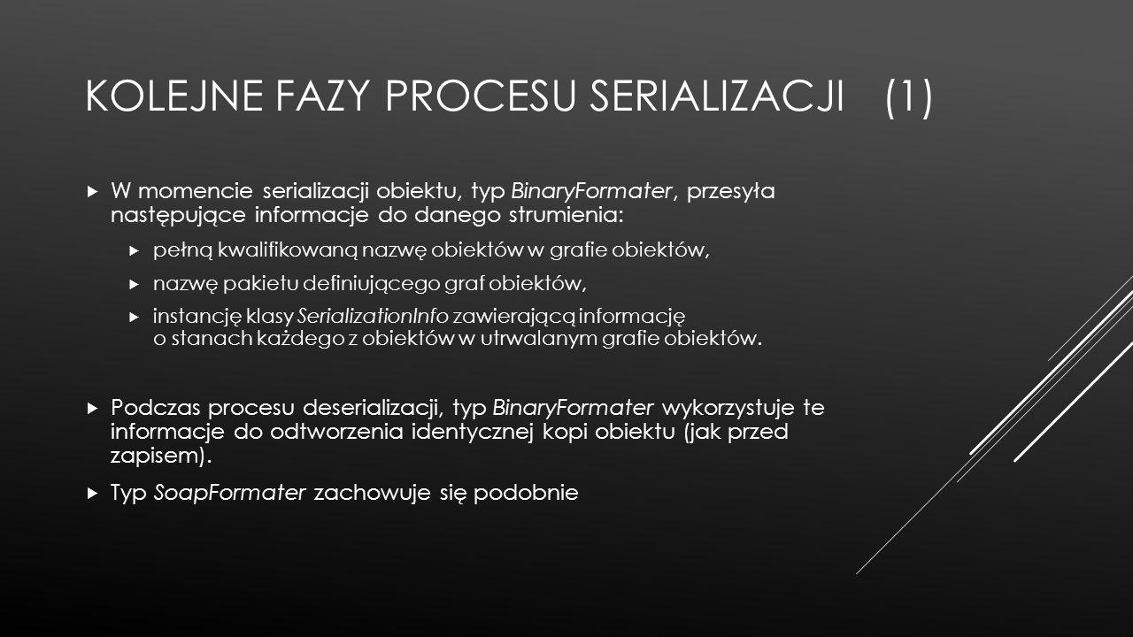 KOLEJNE FAZY PROCESU SERIALIZACJI (1)  W momencie serializacji obiektu, typ BinaryFormater, przesyła następujące informacje do danego strumienia:  p