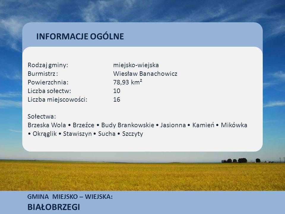 GMINA MIEJSKO – WIEJSKA: BIAŁOBRZEGI Białobrzegi należą do miast mało uprzemysłowionych.