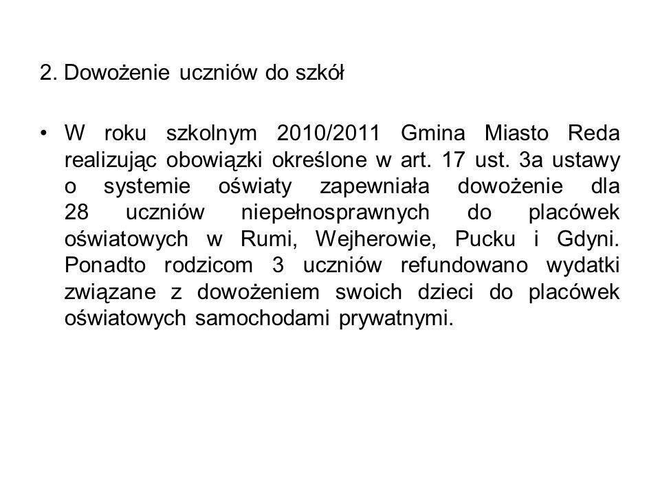 2. Dowożenie uczniów do szkół W roku szkolnym 2010/2011 Gmina Miasto Reda realizując obowiązki określone w art. 17 ust. 3a ustawy o systemie oświaty z