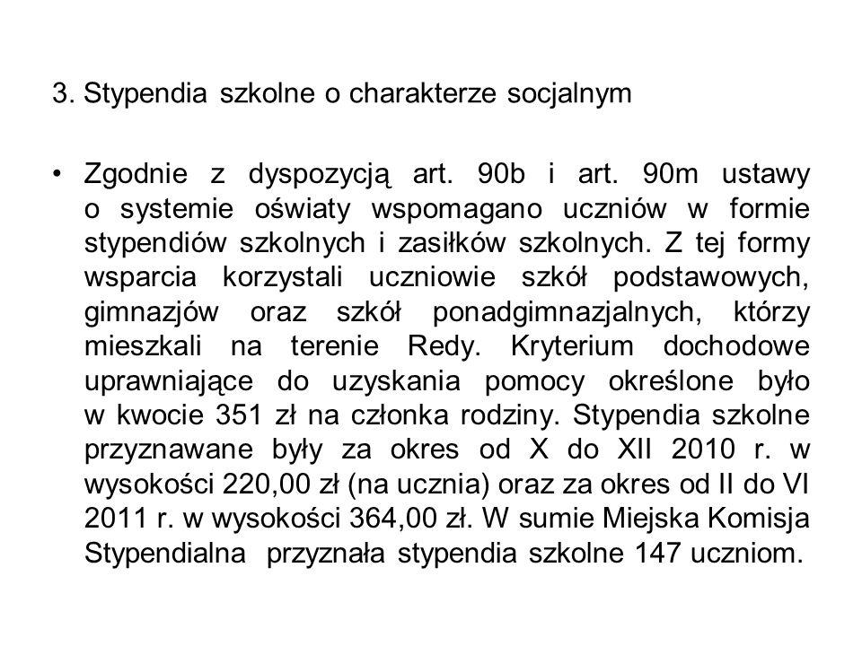 3.Stypendia szkolne o charakterze socjalnym Zgodnie z dyspozycją art.