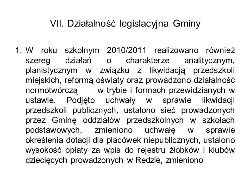 VII. Działalność legislacyjna Gminy 1.W roku szkolnym 2010/2011 realizowano również szereg działań o charakterze analitycznym, planistycznym w związku