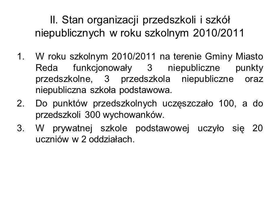 II. Stan organizacji przedszkoli i szkół niepublicznych w roku szkolnym 2010/2011 1.W roku szkolnym 2010/2011 na terenie Gminy Miasto Reda funkcjonowa