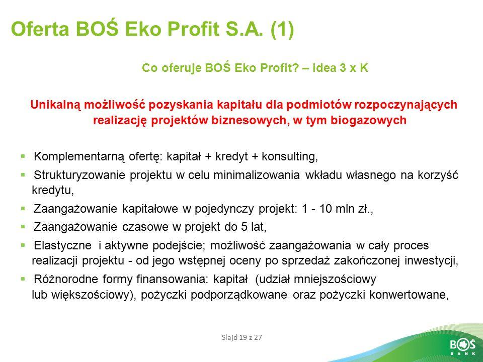 Slajd 19 z 27 Oferta BOŚ Eko Profit S.A.(1) Co oferuje BOŚ Eko Profit.