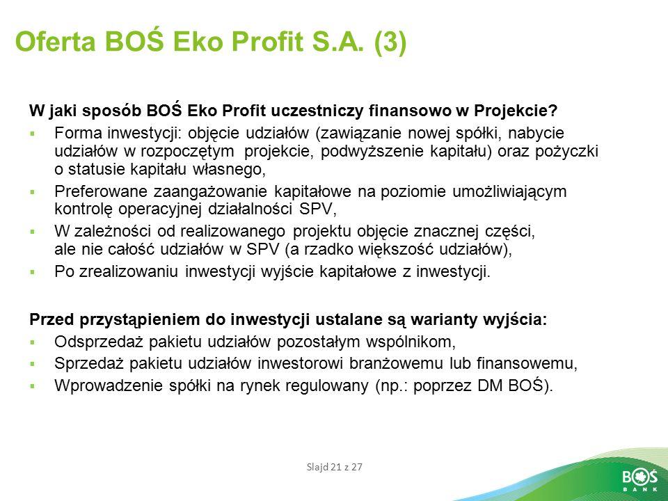 Slajd 21 z 27 Oferta BOŚ Eko Profit S.A.