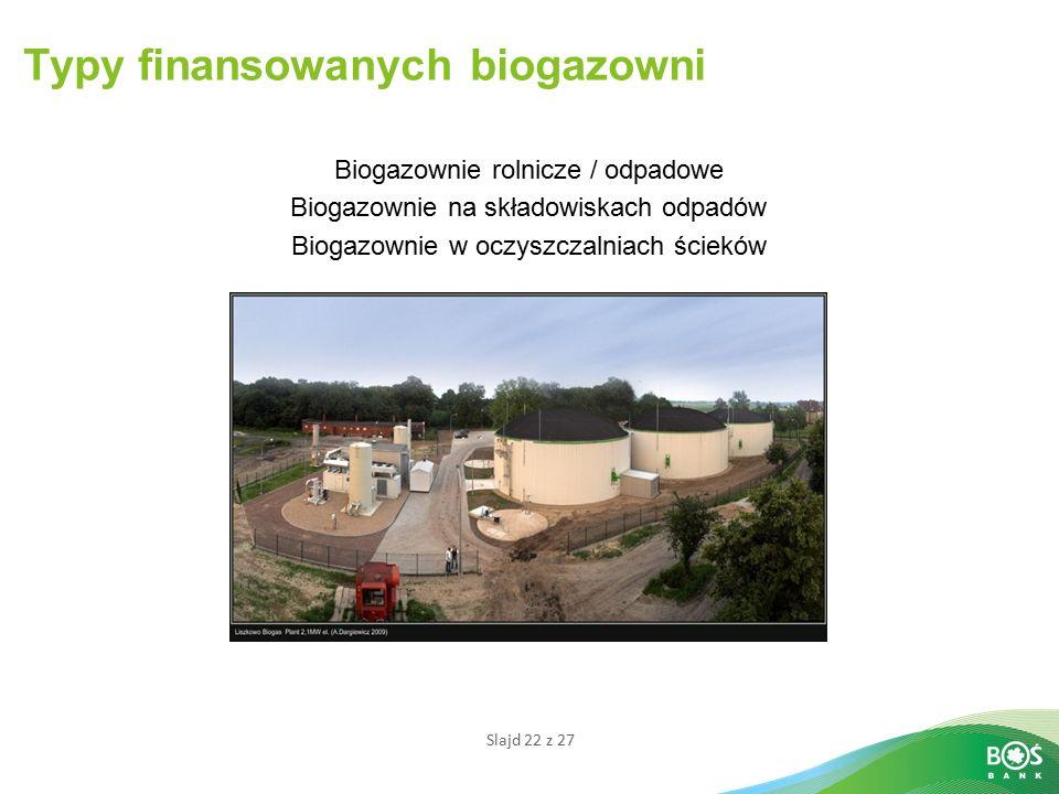 Slajd 22 z 27 Biogazownie rolnicze / odpadowe Biogazownie na składowiskach odpadów Biogazownie w oczyszczalniach ścieków Typy finansowanych biogazowni