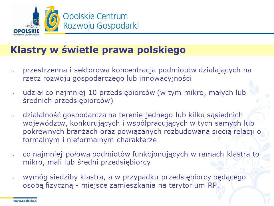 Klastry w świetle prawa polskiego przestrzenna i sektorowa koncentracja podmiotów działających na rzecz rozwoju gospodarczego lub innowacyjności udzia