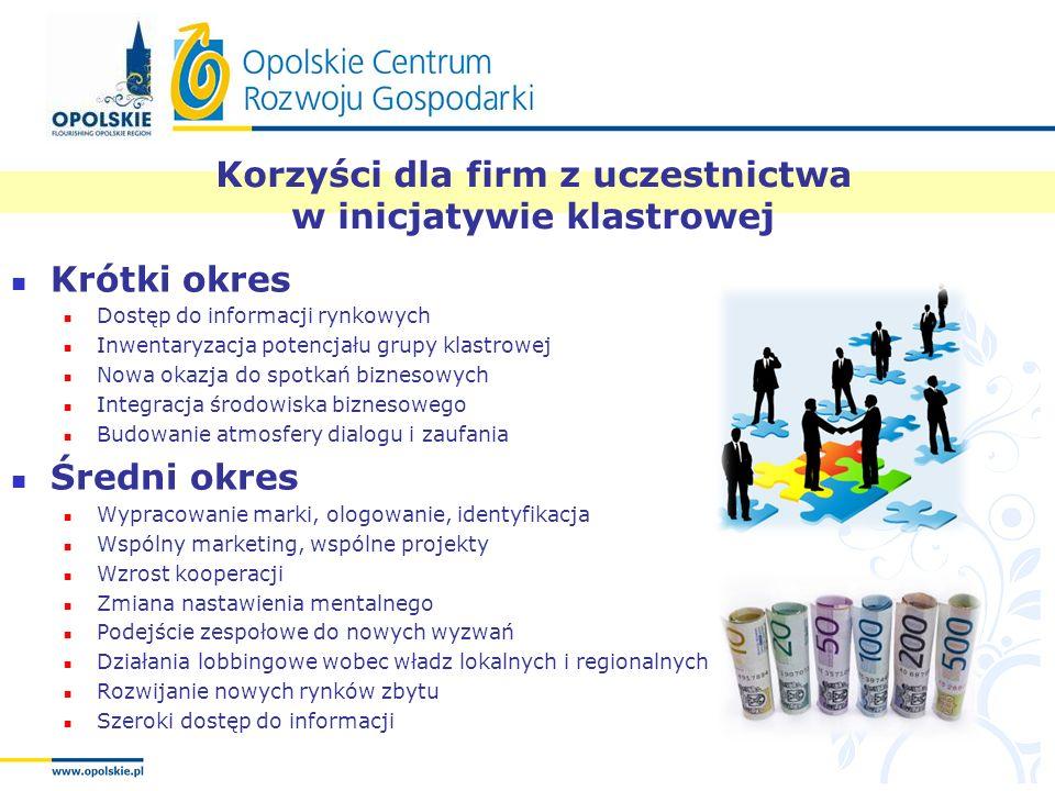 Korzyści dla firm z uczestnictwa w inicjatywie klastrowej Krótki okres Dostęp do informacji rynkowych Inwentaryzacja potencjału grupy klastrowej Nowa