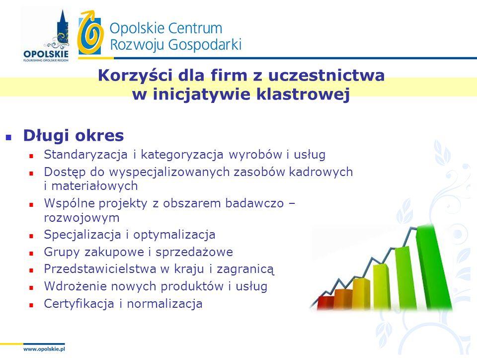 Korzyści dla firm z uczestnictwa w inicjatywie klastrowej Długi okres Standaryzacja i kategoryzacja wyrobów i usług Dostęp do wyspecjalizowanych zasob