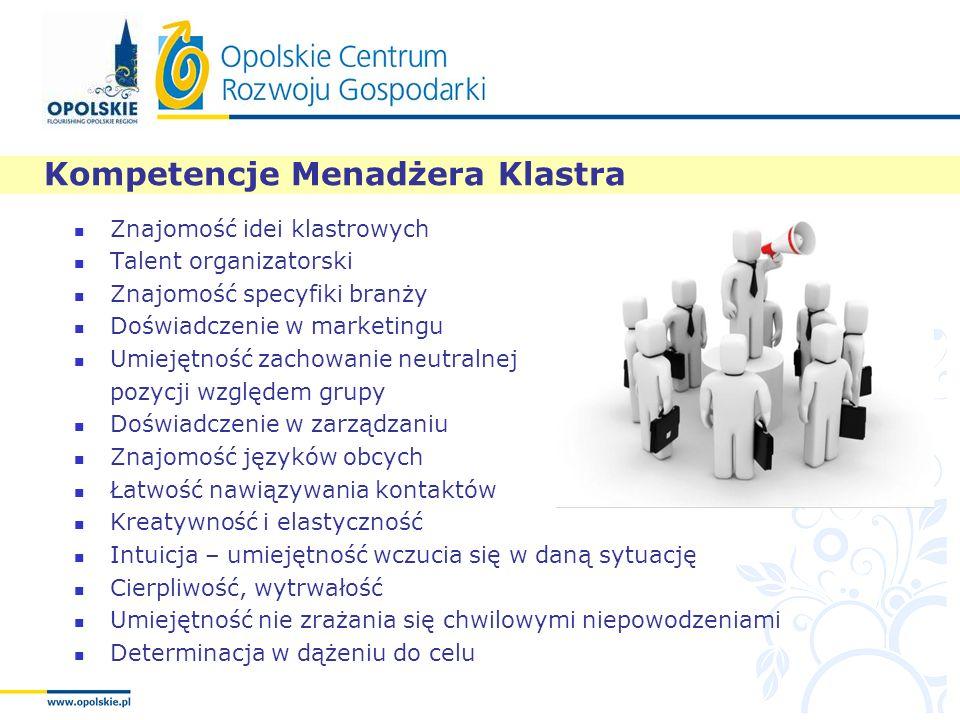 Kompetencje Menadżera Klastra Znajomość idei klastrowych Talent organizatorski Znajomość specyfiki branży Doświadczenie w marketingu Umiejętność zacho