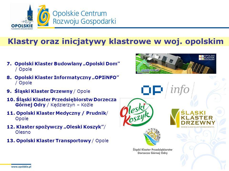 """Klastry oraz inicjatywy klastrowe w woj. opolskim 7. Opolski Klaster Budowlany """"Opolski Dom"""" / Opole 8. Opolski Klaster Informatyczny """"OPIiNFO"""" / Opol"""