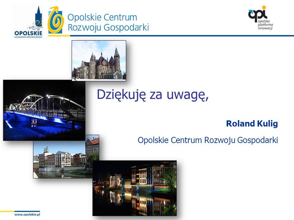 Dziękuję za uwagę, Roland Kulig Opolskie Centrum Rozwoju Gospodarki