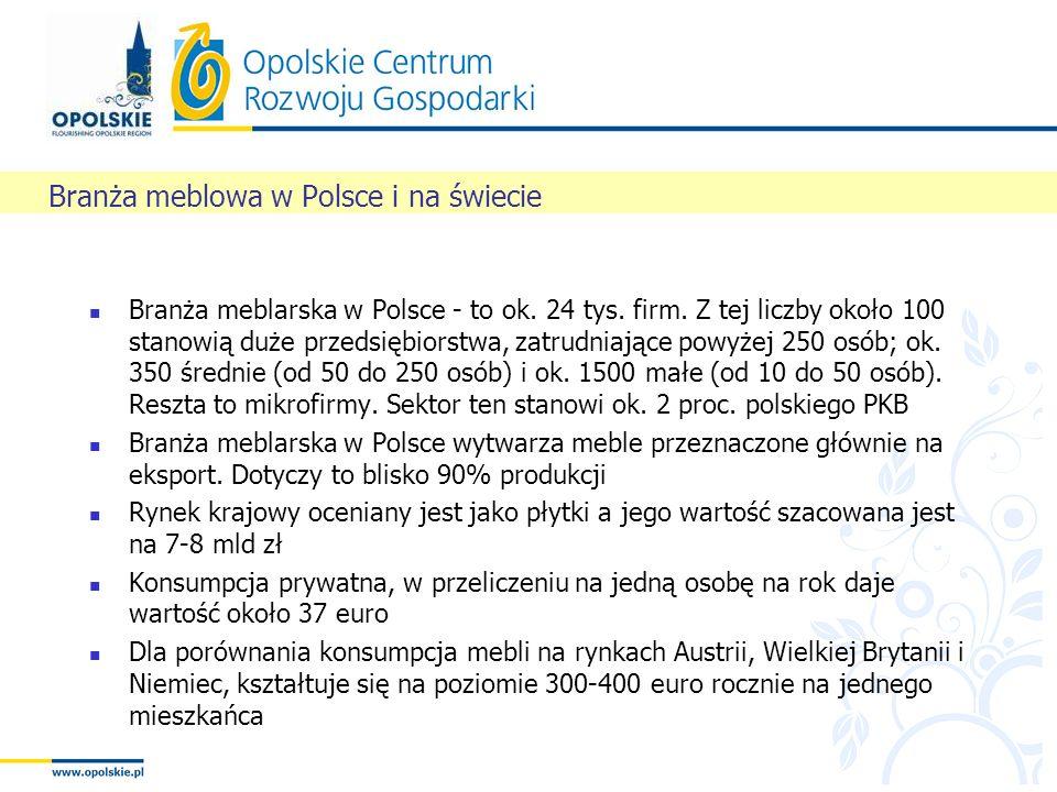 Branża meblarska w Polsce - to ok. 24 tys. firm. Z tej liczby około 100 stanowią duże przedsiębiorstwa, zatrudniające powyżej 250 osób; ok. 350 średni