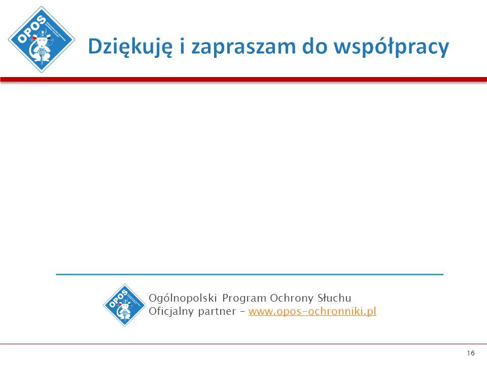 16 Ogólnopolski Program Ochrony Słuchu Oficjalny partner – www.opos-ochronniki.plwww.opos-ochronniki.pl