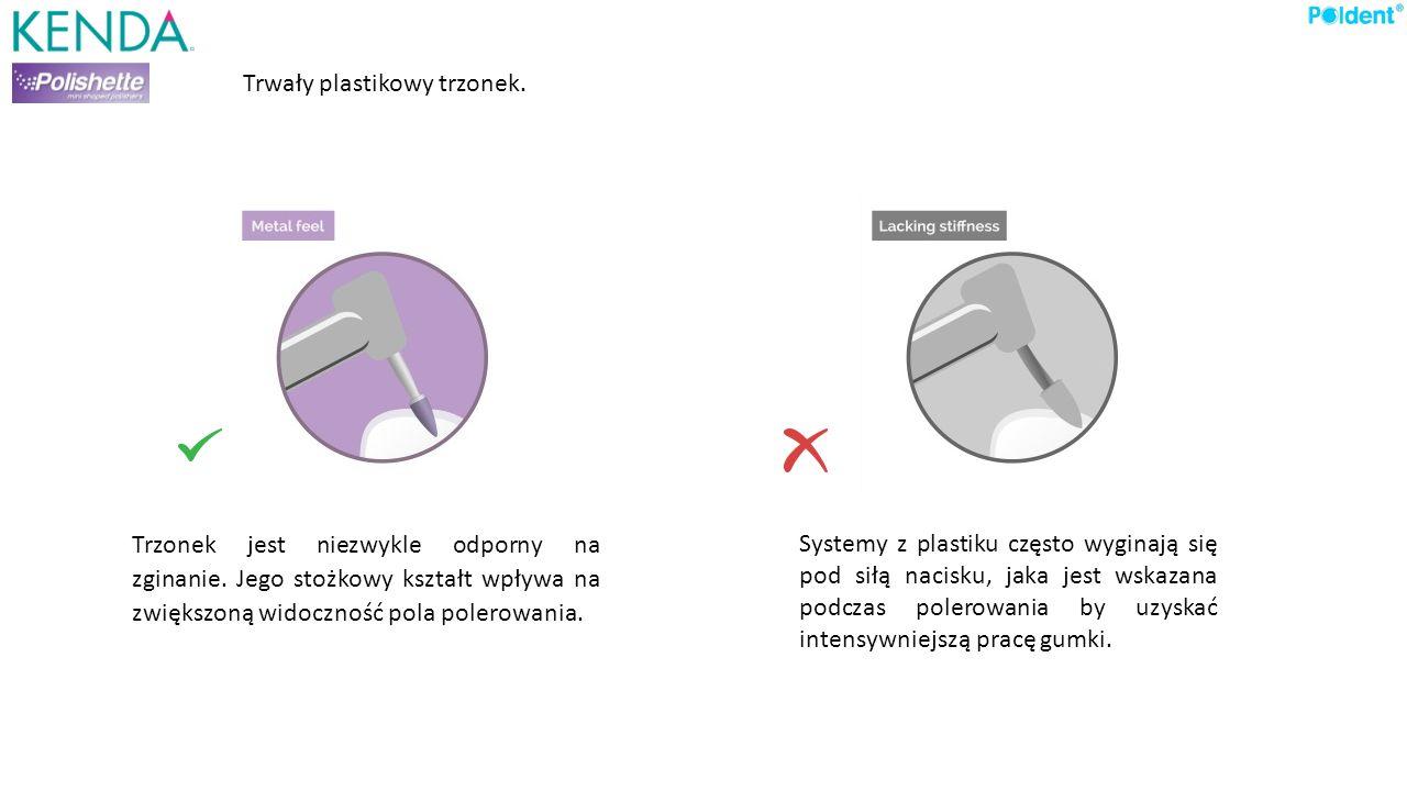 Trwały plastikowy trzonek. Trzonek jest niezwykle odporny na zginanie. Jego stożkowy kształt wpływa na zwiększoną widoczność pola polerowania. Systemy