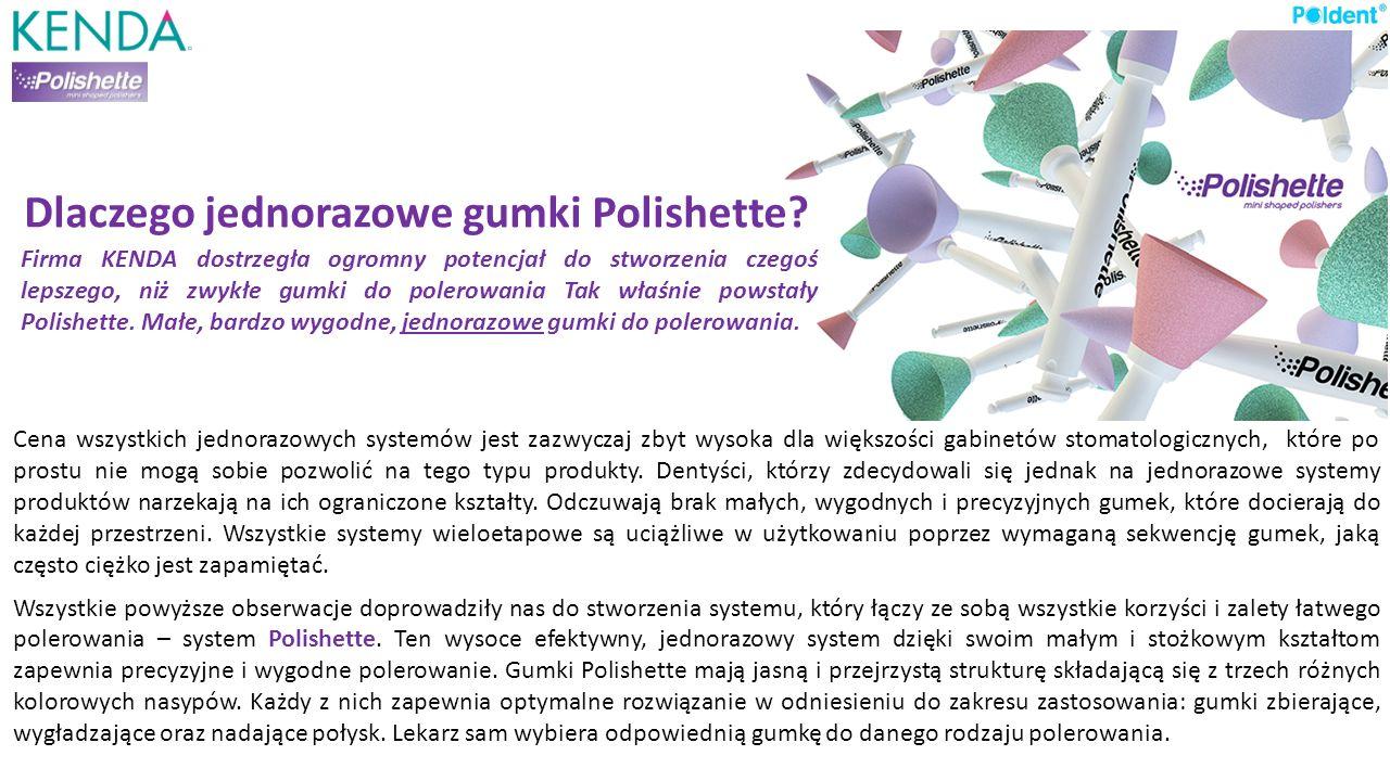Dlaczego jednorazowe gumki Polishette? Cena wszystkich jednorazowych systemów jest zazwyczaj zbyt wysoka dla większości gabinetów stomatologicznych, k
