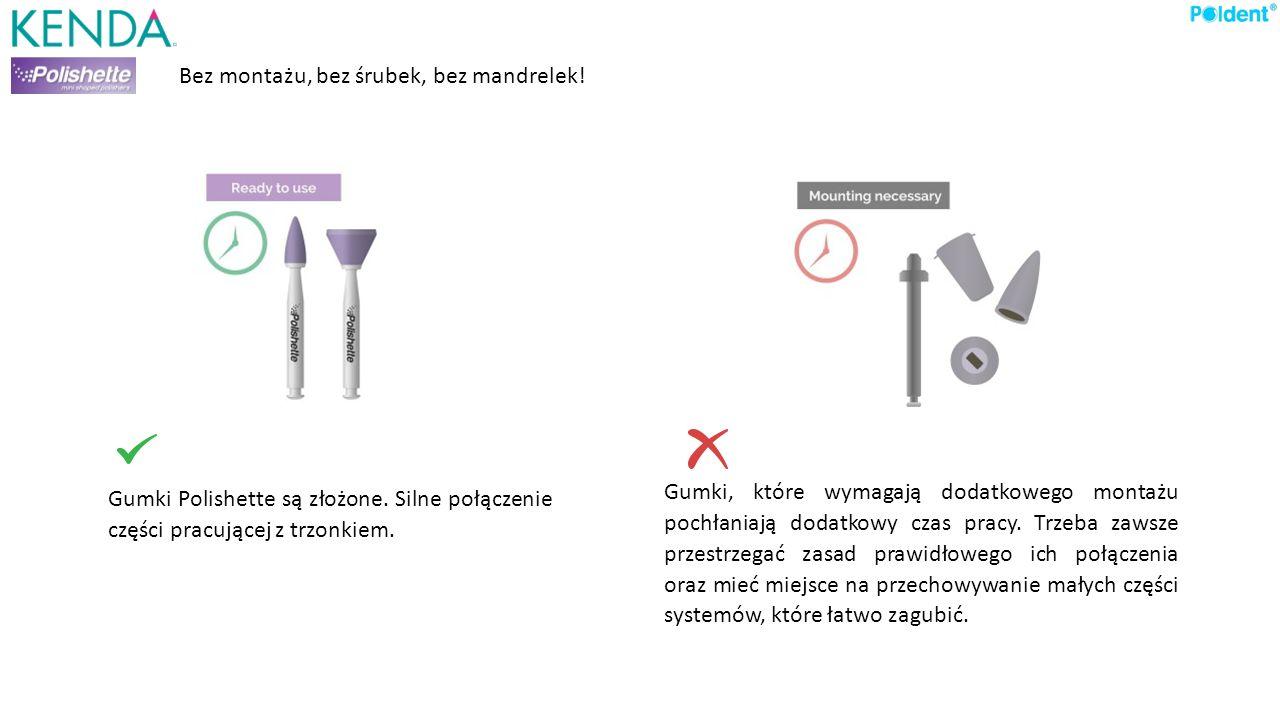 Bez montażu, bez śrubek, bez mandrelek! Gumki Polishette są złożone. Silne połączenie części pracującej z trzonkiem. Gumki, które wymagają dodatkowego