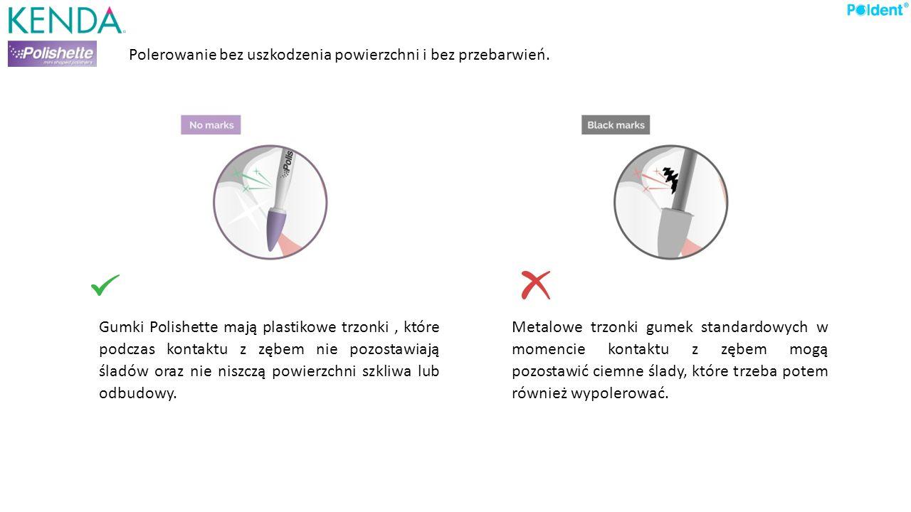 Gumki Polishette mają plastikowe trzonki, które podczas kontaktu z zębem nie pozostawiają śladów oraz nie niszczą powierzchni szkliwa lub odbudowy. Me