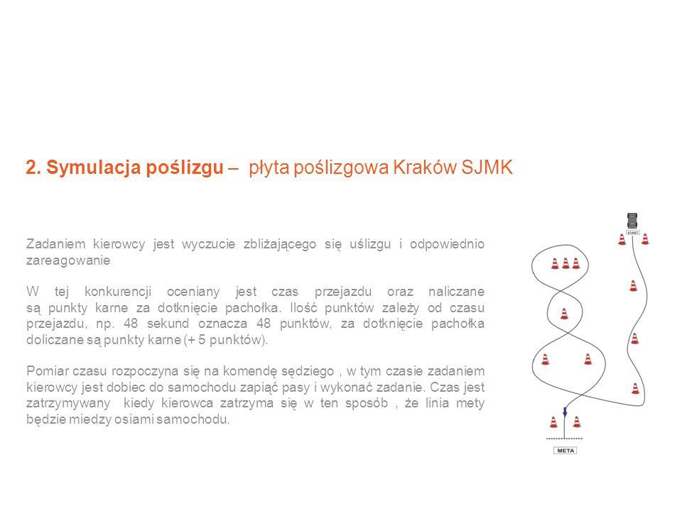 2. Symulacja poślizgu – płyta poślizgowa Kraków SJMK Zadaniem kierowcy jest wyczucie zbliżającego się uślizgu i odpowiednio zareagowanie W tej konkure