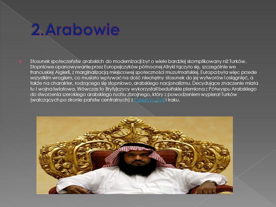  Stosunek społeczeństw arabskich do modernizacji był o wiele bardziej skomplikowany niż Turków. Stopniowe opanowywanie przez Europejczyków północnej