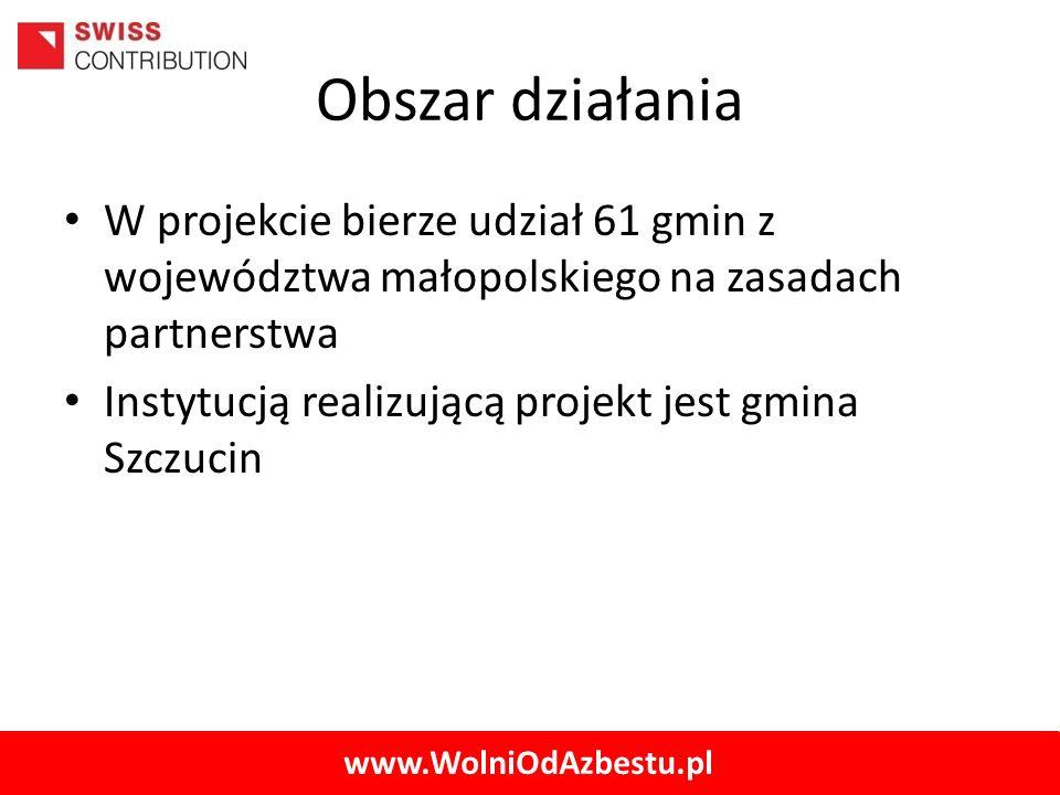 www.WolniOdAzbestu.pl Obszar działania W projekcie bierze udział 61 gmin z województwa małopolskiego na zasadach partnerstwa Instytucją realizującą pr