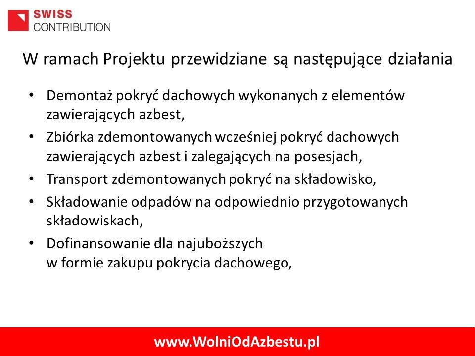 www.WolniOdAzbestu.pl W ramach Projektu przewidziane są następujące działania Demontaż pokryć dachowych wykonanych z elementów zawierających azbest, Z
