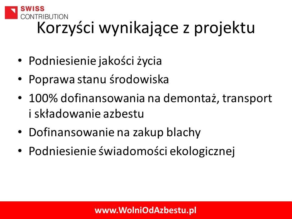 www.WolniOdAzbestu.pl Korzyści wynikające z projektu Podniesienie jakości życia Poprawa stanu środowiska 100% dofinansowania na demontaż, transport i
