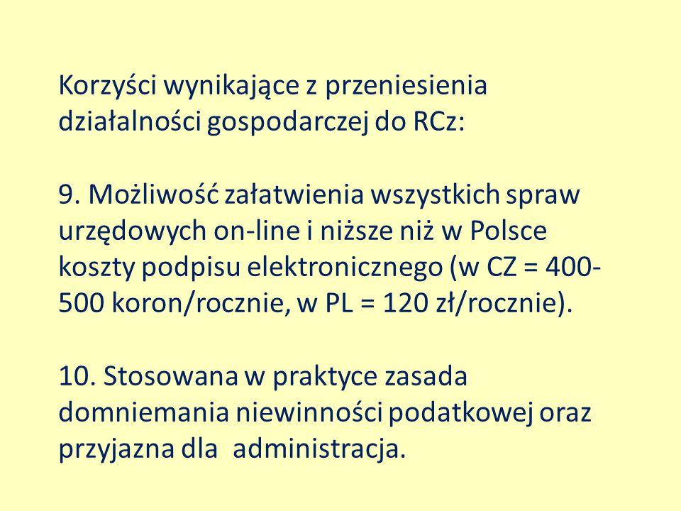 Korzyści wynikające z przeniesienia działalności gospodarczej do RCz: 9. Możliwość załatwienia wszystkich spraw urzędowych on-line i niższe niż w Pols