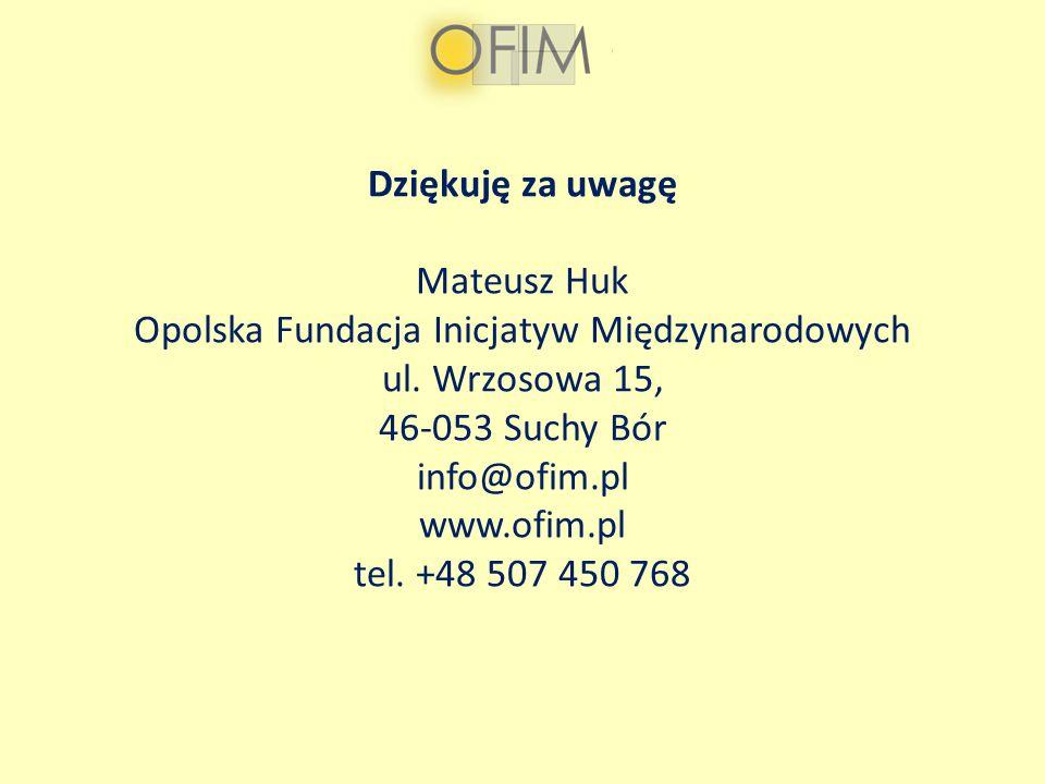 Dziękuję za uwagę Mateusz Huk Opolska Fundacja Inicjatyw Międzynarodowych ul. Wrzosowa 15, 46-053 Suchy Bór info@ofim.pl www.ofim.pl tel. +48 507 450