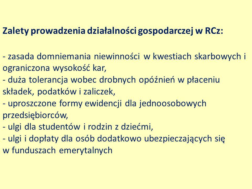 Zalety prowadzenia działalności gospodarczej w RCz: - zasada domniemania niewinności w kwestiach skarbowych i ograniczona wysokość kar, - duża toleran