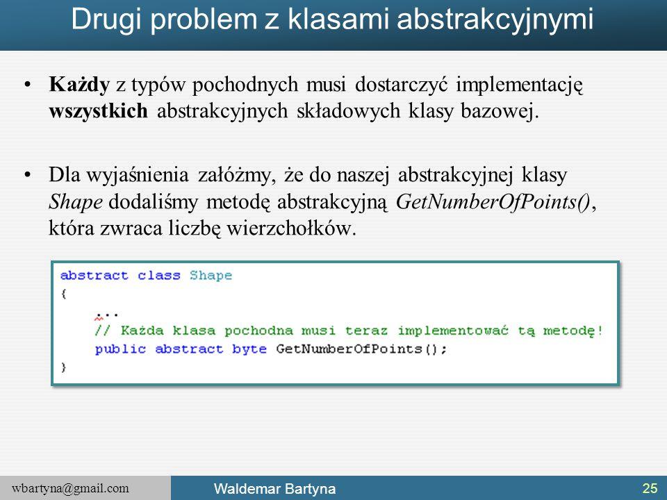wbartyna@gmail.com Waldemar Bartyna Drugi problem z klasami abstrakcyjnymi Każdy z typów pochodnych musi dostarczyć implementację wszystkich abstrakcy